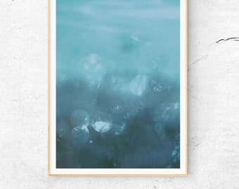 ABSTRACT BLUE PRINT, Blue Water Printable, Bathroom Decor, Modern Art Minimalist, Navy Blue Poster, Underwater Photography, Digital Download