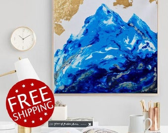 Mountain art, mountain landscape, mountain painting, navy blue abstract art, blue wall art, boy nursery decor, abstract painting original