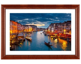 Venice by night.  Print on the Gatorboard 16 x 24 frame with a wooden frame.