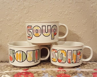 Vintage SOUP mugs.  Set of 3 large retro soup mugs.  1970's soup bowls.