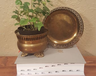 """Small vintage brass planter and brass bowl.  Both have cut outs and great detail.  4.5"""" brass planter.  6"""" brass bowl."""