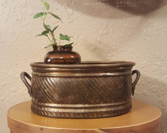 "Small vintage weatherd brass oval planter.  6.75""x4.75"" Boho brass planter"
