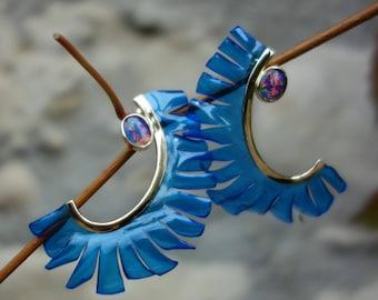 Earrings gold 18 K earrings Opal, blue earrings, gemstone earrings, earrings