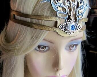 Warior Queen Headpiece, Gold Leather, Queen Mavia, Dragons Headpiece, Third Eye, Burning Man, Renaissance, Ready to Ship