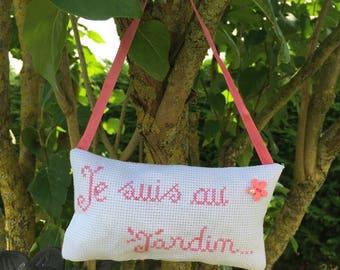 "Interior handmade ""I'm in the garden"" cotton"