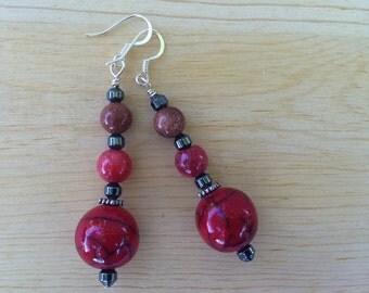 Deep red beaded dangle earrings