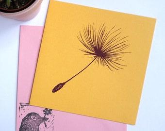 Screenprint Dandelion card with happy colours, paardebloempluisje kaart gezeefdrukt