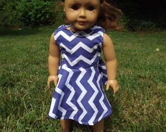 Purple and White Chevron Dress for 18 Inch Dolls