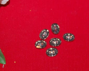 5 oval buttons 1.5 cm transparant
