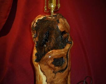Wooden, Handcrafted, One of a kind, beautiful Applewood Lamp.