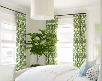 Superb Fig Leaf Curtains Drapes Panel Cotton Linen Palm Leaf Botanical Custom  Length Width Green White Pleated