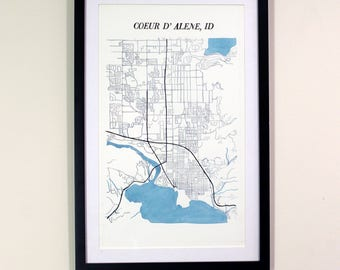 Coeur d' Alene Idaho - Watercolor Map
