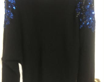 80's Vintage black sweater with blue sequins