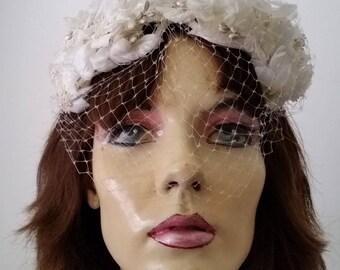 Vintage Women's Floral Net Fascinator Hat Cap 1950s 60s