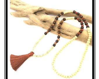 Brown glass and natural wood beads & Brown tassel necklace / boho Natural zen stone wood pink silver glass beads tassel necklace