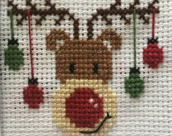 Cross stitch Rudolph Christmas card