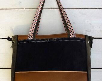faux leather tote bag cotton bi face