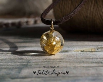 Suede choker necklace with ball pendant, Clear resin ball with gold flakes, Elegant everyday choker with resin charm, Festival choker