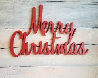 Merry Christmas Word Etsy