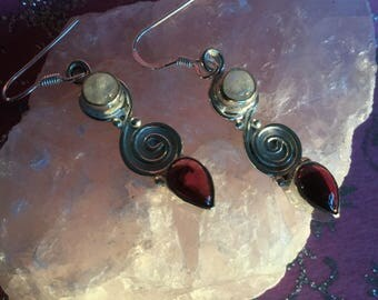 Sterling Silver Earrings with polished Moonstone and Garnet