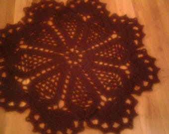 Chocolate Brown Crocheted Doily Rug