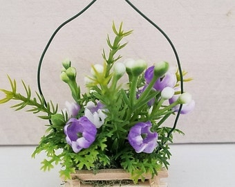 Miniature Basket of Flowers, Hanging Flowers, Floral Arrangement, Dollhouse Miniatures, Dollhouse Accessories, Purple Flowers, Handmade