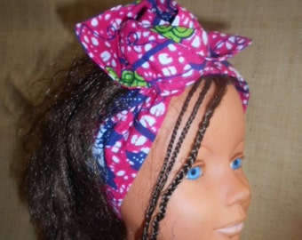 African turban, hard headband for girls and women, wax Pink Blue Navy