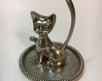Vintage Cat Ring Tree/Holder Silver Plated Made in Hong Kong 1960s