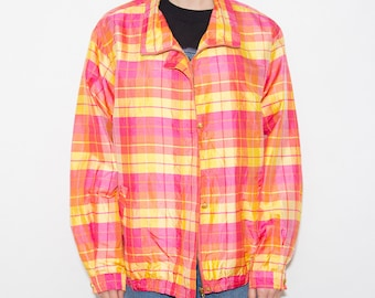 Silk Jacket, Vintage Jacket, Plaid Jacket, Tartan, Womens Jacket, Bomber Jacket, 90s Clothing, Vintage 90s, 90s Jacket, Colorful, Kitsch