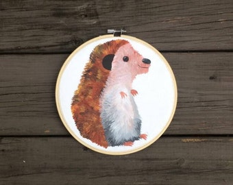 Original Woodland Hedgehog Acrylic Painting in a Hoop | Handmade | Framed | Animal Nursery | Decor