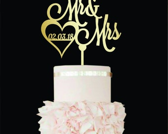 Wedding Cake Topper Mr and Mrs Cake Topper date wooden monogram cake topper gold Custom cake Unique cake topper Mr and Mrs cake with Date