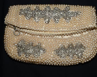 Vintage, Clutch bag, Gorgeous, Beige, Faux Pearls, Beaded, Clutch Bag with Small Kaki Glass Beads Leaf Design Inside, Made in Japan