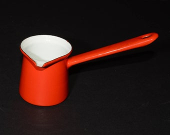 Red and White Enamel Turkish Coffee - Enamel ladle - Red and White Enamelware, Vintage, Coffee pot