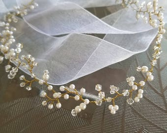 Crystal wreath, pearl wreath, bridal wreath, bridal headpiece, crystal headpiece, pearl headpiece, crystal tiara, wedding hair jewelry