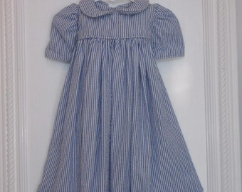 Cotton Baby Girl Dress. 4 to 6 Months. 100% Blue and White Cotton Seersucker