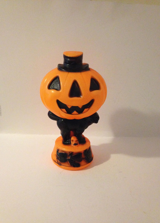vintage antique empire plastic halloween lighted pumpkin jack o lantern jol top hat black cat witch