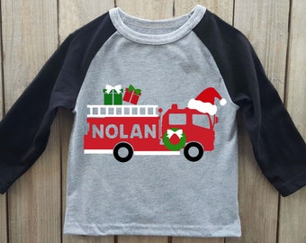 Boys Christmas shirt, fire truck shirt, Kids Christmas shirt, toddler christmas shirt, christmas onesie, boys christmas onesie, fire truck