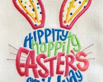 Easter bunny dish towel, Easter kitchen towel, Hippity hoppity towels, tea towels, kitchen accessory, Easter decor, Easter gift