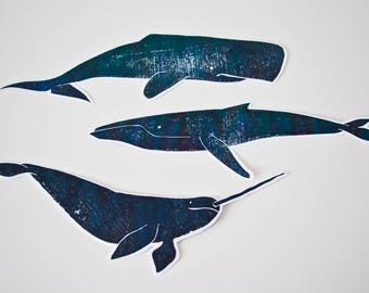 big whales / set of 3 handprinted stickers