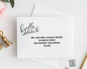 Kindly Deliver To Stamp / Hand Lettered Stamp / Invitation Stamp, Wedding Stamp, Save the Date, Stationery Stamp