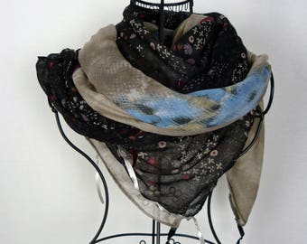 Large square scarf black and beige collection 180, large shawl, black, black, beige scarf, scarf flowers