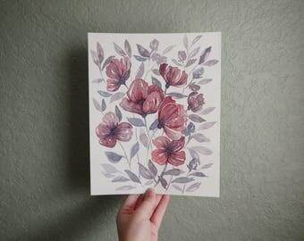 Poppies Watercolor Illustration 8x10 Original