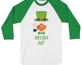 Irish AF shirt, Shenanigans Shirt, Shamrock Shirt, St Patricks Day Shirt, St Paddys Day, Irish, Leprechaun, day drinking, 3/4 sleeve raglan