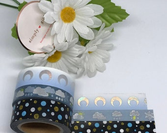 "Simply Gilded Washi, Weather, Moons , Limited samples, 24"" samples"