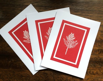 White winter branch embossed Christmas cards (set of 3), individually handmade: peace on earth, holiday card, winter card, SKU PEA21041