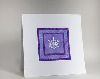 White snowflake on purple layers blank card, individually handmade: holiday card, winter, solstice, let it snow, SKU BLSQ1008