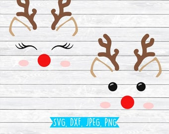 Reindeer SVG, Reindeer Face, SVG file, Silhouette, Cricut, Christmas SVG, Rudolph Svg, Christmas cutting file, cut file,Reindeer Antlers,dxf