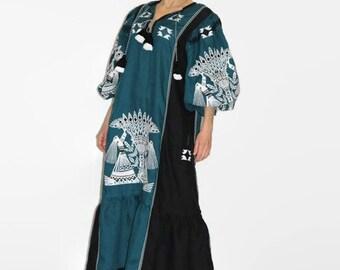 Ukrainian embroidered boho dress vyshyvanka green linen Ukraine dresses long kaftan abaya robe plus size bohemian clothing trapeze dress