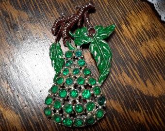 1930's Large Green Rhinestone Pear Brooch Pin