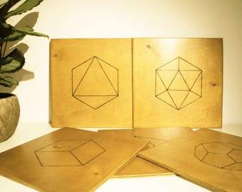 Sacred Geometry - Platonic solids pyrographed on wood